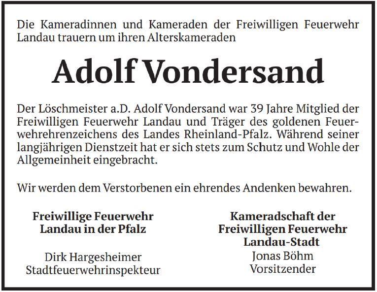 Kamerad Adolf Vondersand gestorben